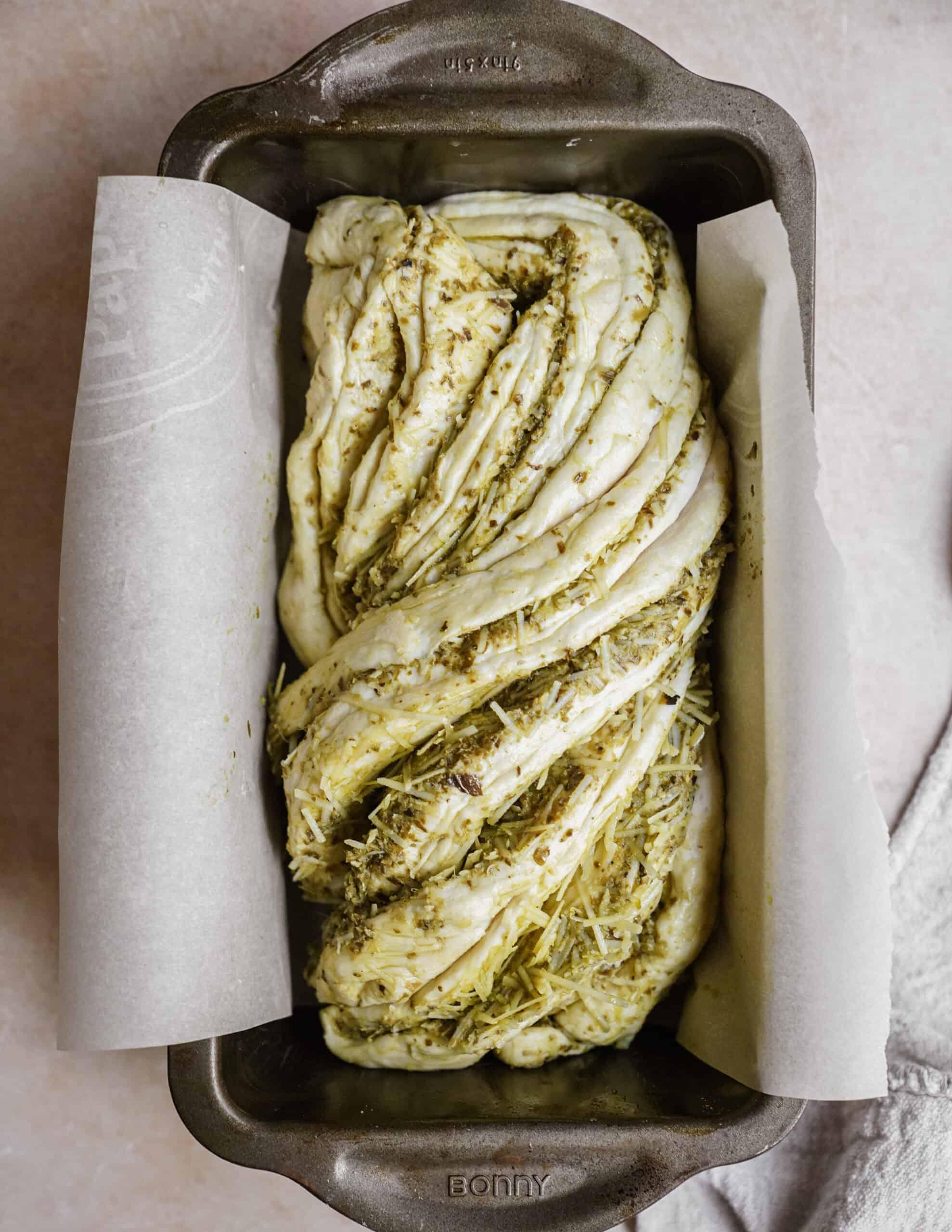 Twist bread in a pan ready to bake