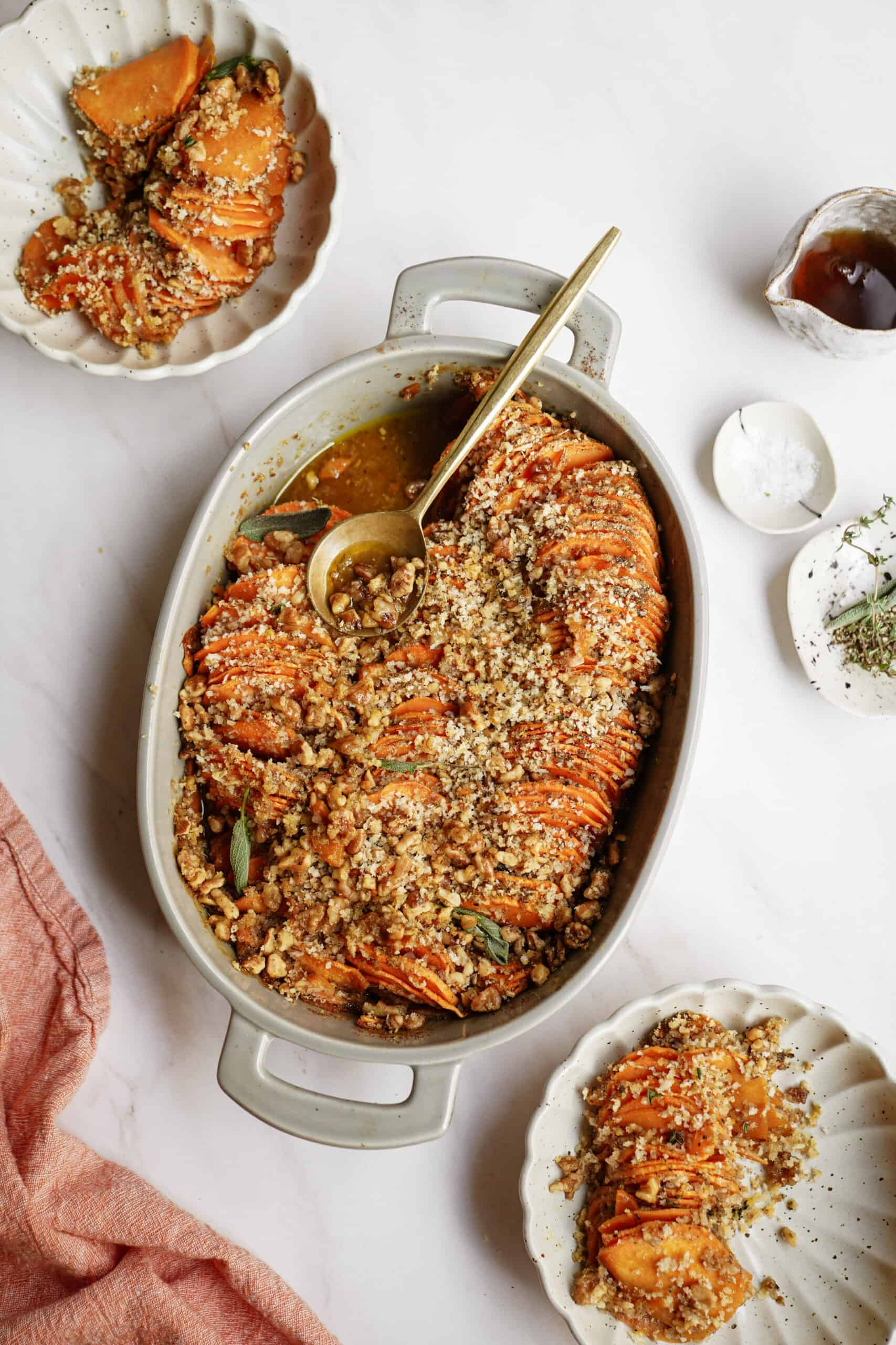 Baked Sweet Potato Recipe in a white casserole dish