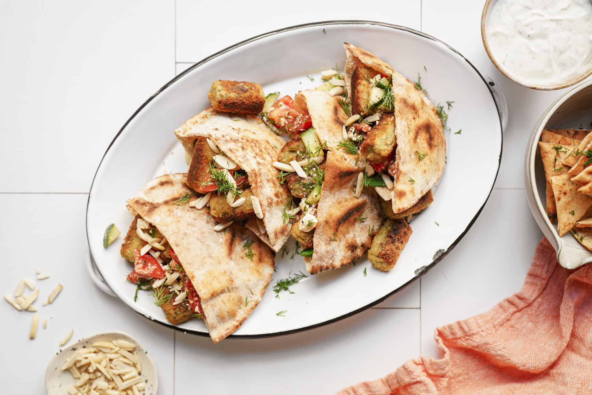 Mediterranean wrap on white plate